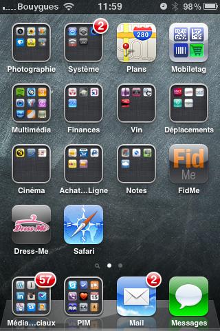 iPhone écran d'accueil