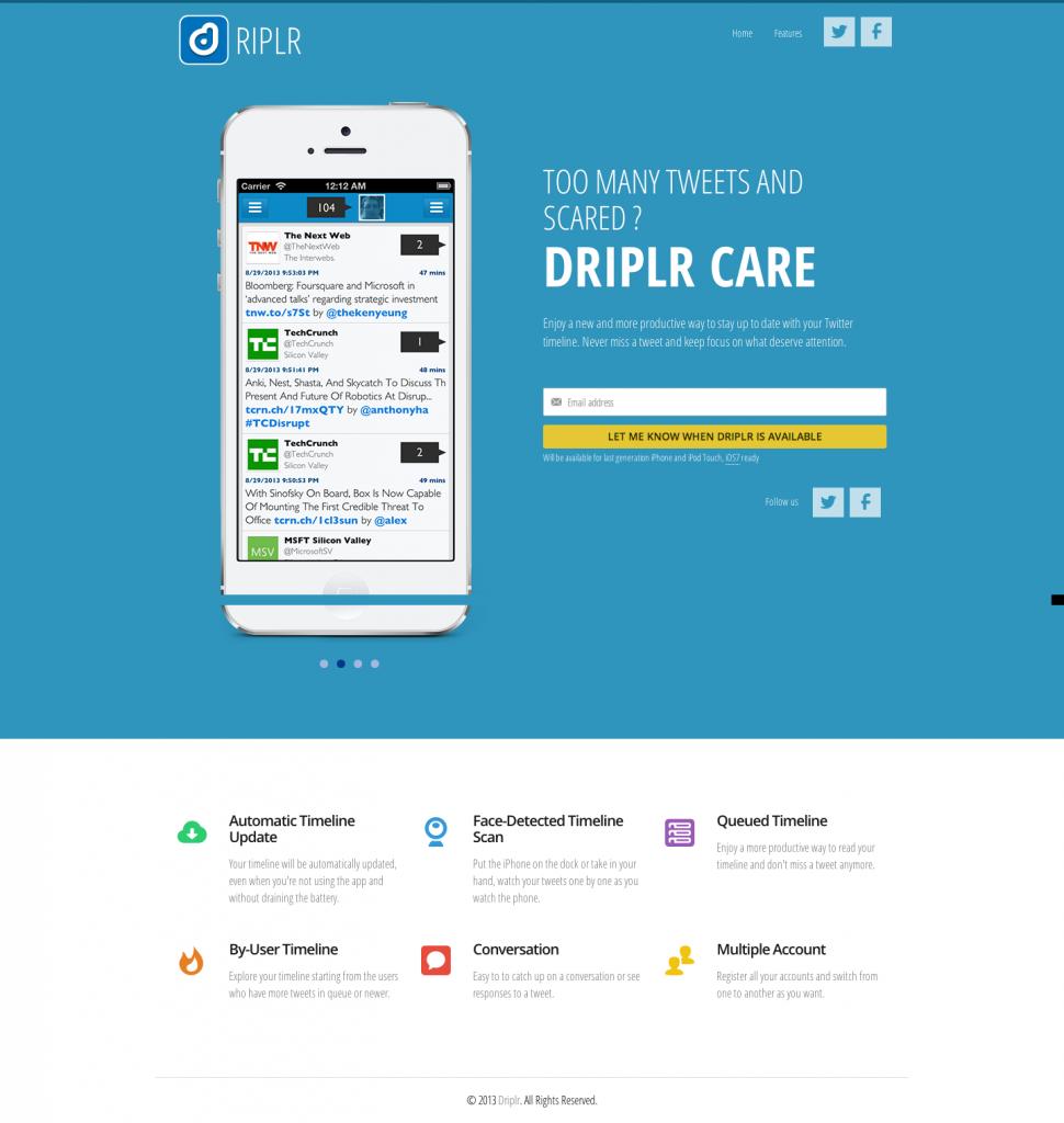 Driplr, your tweets drop by drop