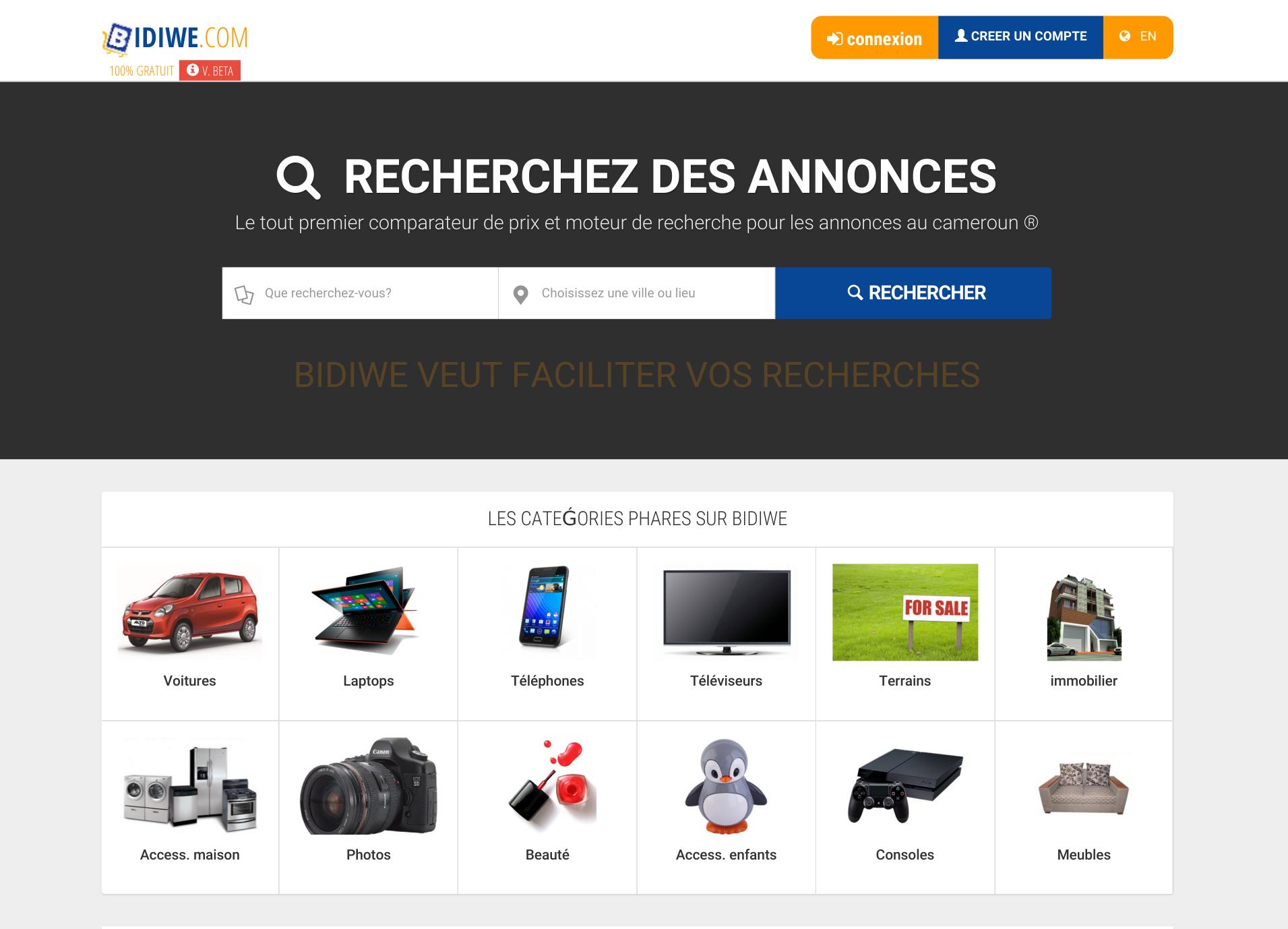 Cameroun bidiwe le 1er moteur de recherche et for Comparateur de prix pour hotel